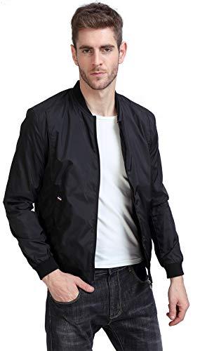 YIDI Men's Casual Classic Slim Bike Motorcycle Coat Outwear Long Sleeve waterproof Bomber Jacket (US XXL, Black)