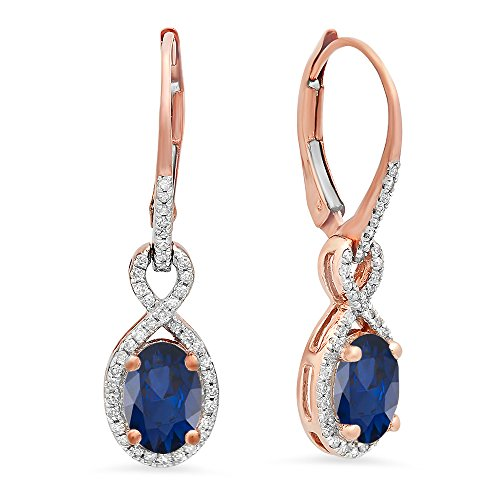 Dazzlingrock Collection 10K Oval Blue Sapphire & Round White Diamond Ladies Infinity Dangling Earrings, Rose Gold ()