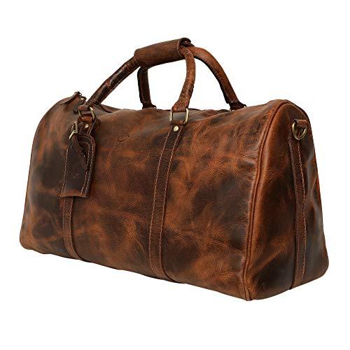 Rustic Town groß Leder Reisetasche - Carry On Vintage Umhängetasche Duffel Bag Weekender Tasche für Herren und Damen (Dunkelbraun)