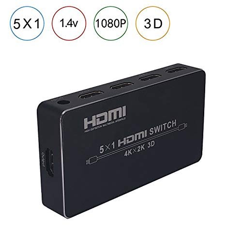 - 5x1 4K HDMI Switch 5 Ports HDMI Switcher 5 Input 1 Output HDMI Splitter 4Kx2K 1080P 3D IR Remote Control for PS3 Xbox 360 Sky Box DVD HDTV Projector etc