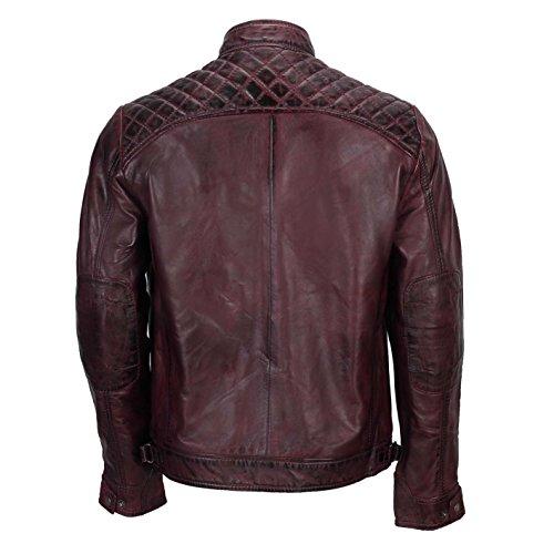 Vera Morbida Stile In Pelle Alla Casual Motociclista Cerniera Con Burgundy Nera Da Xposed Moda Uomo Giacca Vintage g1wqYxTf