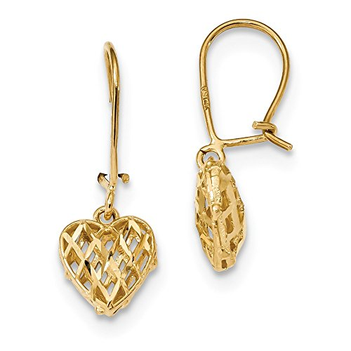 14k Yellow Gold Lattice Heart Drop Dangle Chandelier Kidney Wire Earrings Fine Jewelry Gifts For Women For Her
