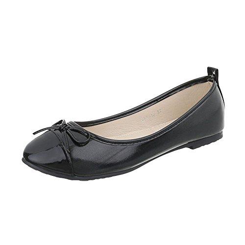 Ital-Design Zapatos Para Mujer Bailarinas Tacón Ancho Bailarinas Clásicas Negro GAQ-10