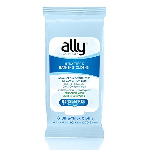 Ally Rinse Free Ultra Thick Adult Bathing Cloths  Microwaveable And Hypoallergenic  96 Count  12 Packs Of 8 Wipes