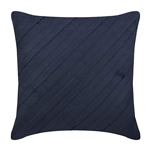 "Designer Navy Blue Euro Pillow Shams, 26""x26"" Euro Pillow Covers, Textured Pintucks Solid Color Euro Shams, Faux Suede Euro Sham, Striped Contemporary Euro Shams - Contemporary Navy"