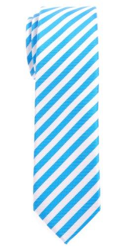 White Stripe Boys Tie (Retreez Stripe Woven Skinny Tie - Blue and White Stripe)