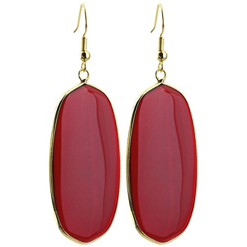 (SUNYIK Women's Red Crystal Glass Oval Dangle Earrings Gold Plated)