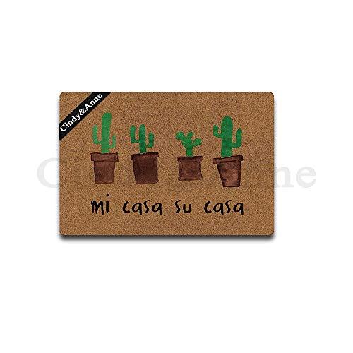 Tdou Mats Cactus Mi Casa ES Su Casa Doormat Entrance Floor Mat Funny Doormat Door Mat Decorative Indoor Outdoor Doormat 23.6 by 15.7 Inch Machine Washable Fabric Top (Casa Casa Su Wall Art Mi Es)