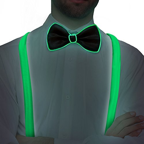 LED Bow Tie and Suspenders Kit (Green) -