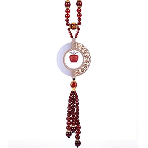 MATEPROX Car Hanging Decoration, Dangling Ornaments Vehicle Accessory Rearview Mirror Charms Pendant Jesus Natural White Jade Stone Decor Red Apple Amulet Pray for Luck ()