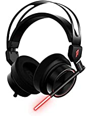 1MORE Gaming Headset, Stereo Over-Ear Headphones with Dual mic, Super Bass and customerised LED, 3.5mm Jack for Cell Phone, Laptops, Computer. with Additional adpater for PS5 Nintendo Switch.