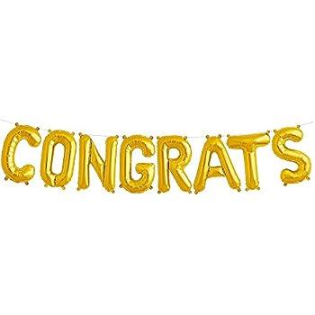 Amazon com congrats balloons banner gold alphabet balloons aluminum film balloon for graduation