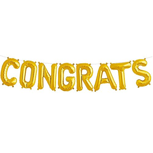 Congrats Balloons Banner Gold Alphabet Balloons Aluminum Film Balloon for Graduation Congratulations Birthday Party Independence Day Wedding Bridal Shower Decorations 16 Inch (Congrats Banner)