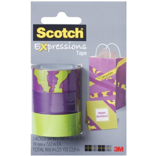 Scotch Expressions Magic Tape/ 3/4 x 300 Inches/ Animal/ Purple/ Green/ 3-Rolls/Pack (C214-3PK-2)