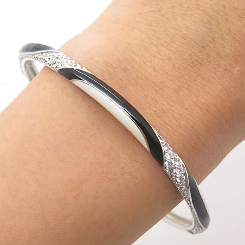 925 Sterling Silver C Z Enamel Bangle Bracelet 8 1/4