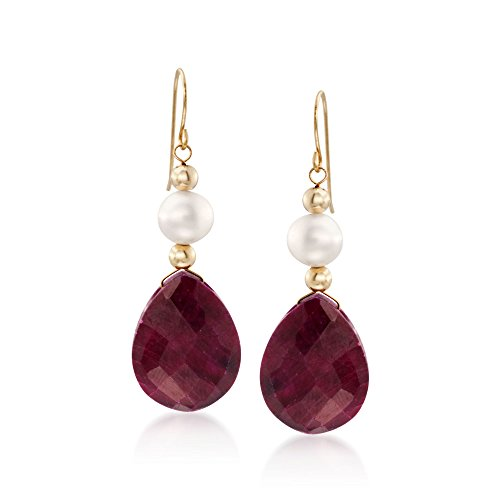 Ross-Simons 20.00 ct. t.w. Ruby and Cultured Pearl Earrings in 14kt Yellow (Pearl Red Gold Earrings)