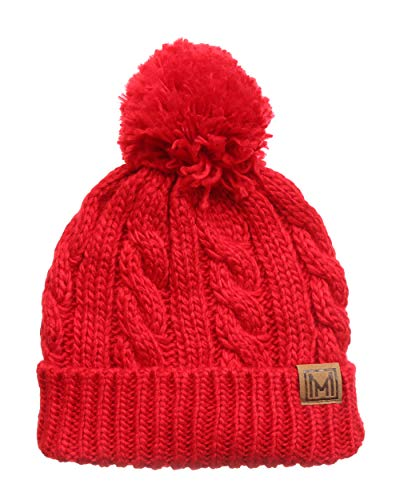 (MIRMARU Winter Oversized Cable Knitted Pom Pom Beanie Hat with Fleece Lining. (Red))