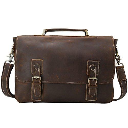 À Hommes Foncé couleur D'affaires Sac 14 Pour Pouces Réglable Marron Mallette Bandoulière Briefcase Bag Messenger Ajzgf Brown Business wF4xRq1