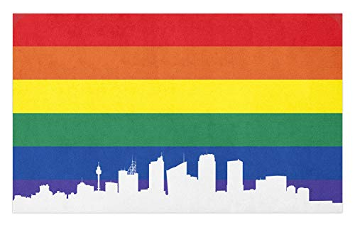 Ambesonne Pride Doormat, City Building Silhouettes of Sydney on Rainbow Flag Partner Love Illustration, Decorative Polyester Floor Mat with Non-Skid Backing, 30