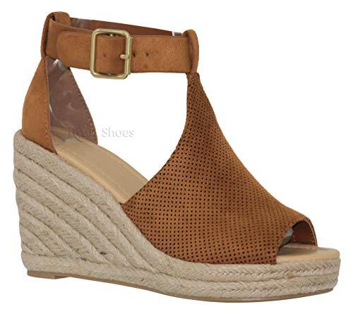 MVE Shoes Women's Open Toe Cutout Ankle Strap Platform Wedge, tan su Size 7.5