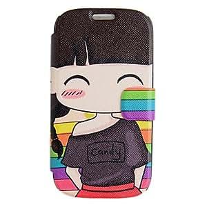 HC-T-Shirt Caso de cuero chica con soporte para Samsung Galaxy S3 I9300