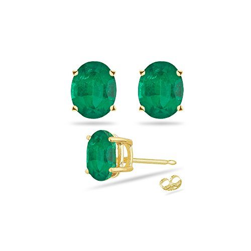 - 0.38-0.55 Cts of 5x3 mm AA Oval Natural Emerald Stud Earrings in 18K Yellow Gold