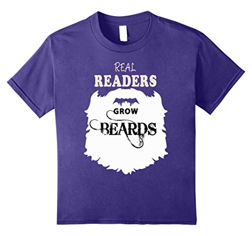 Kids Real Readers beards t shirts, book reading b day tee costume 8 Purple
