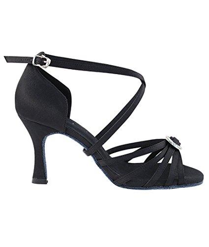 Zeer Fijne Ballroom Latin Tango Salsa Dansschoenen Voor Dames Sera1123 3-inch Hak + Opvouwbare Borstelbundel Zwart Satijn