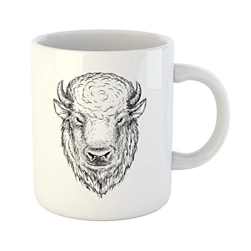 (Semtomn Funny Coffee Mug Drawn Head of Buffalo Face Bison Bull Graphic Sketch Ink 11 Oz Ceramic Coffee Mugs Tea Cup Best Gift Or Souvenir)