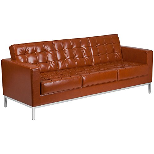 Flash Furniture HERCULES Lacey Series Contemporary Cognac Leather Sofa with Stainless Steel Frame - Tufted Leather Contemporary Sofa