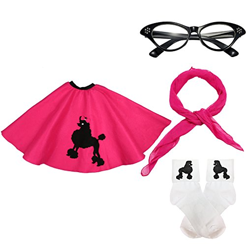 50s Womens Costume Accessory Set - 1950s Poodle Skirt, Chiffon Scarf, Cat Eye Glasses,Bobby Socks w/Poodle Applique (Hot Pink) -
