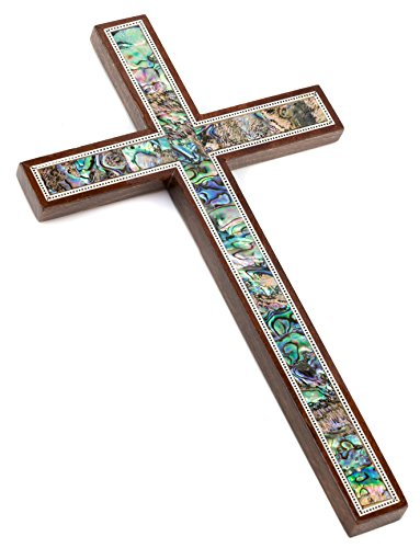Leolana Handmade Wall Cross - Inlaid with Mother of Pearl & Paua Shell (11.5