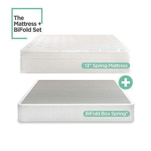 (Night Therapy Spring 13 Inch Deluxe Euro Box Top Mattress and BiFold Box Spring Set, Full)