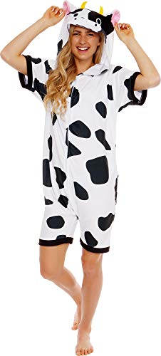 Silver Lilly Cow Short Sleeve Animal Pajamas - Plush Adult One Piece Summer Cosplay Costume (Large)]()