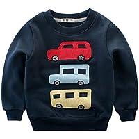 DDSOL Toddler Little Boys Cute Dinosaur Car Print Long Sleeve T Shirt Cartoon Crew Neck Sweatshirts Kids 2-8 Years