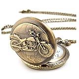 DragonPad Unisex Antique Case Vintage Brass Rib Chain Quartz Pocket Watch Motorcycle
