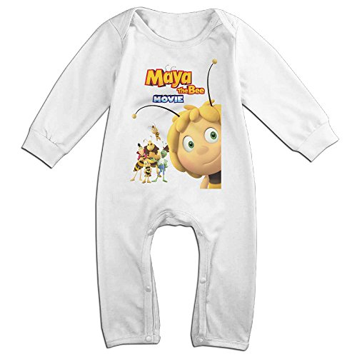 Price comparison product image Kids Maya The Bee Baby Bodysuit Unisex Boys Girls 100% Cotton Long Sleeve Rompers 12 Months White
