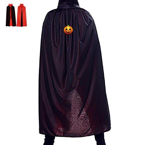 Laugh Grimming Pumpkin Reversible Halloween Cloak Party Cape Costume Red Black