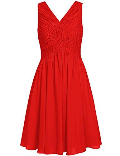 Cdress Femmes Court Robes De Demoiselle D'honneur Longueur Genou En Mousseline De Soie V Cou Rouge Bal De Mariage