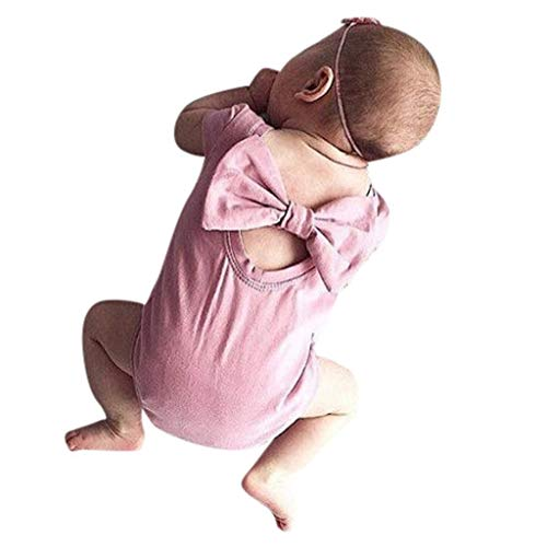POTO Infant Baby Girl Kid Newborn Solid Bow Romper Bodysuit Sunsuit Outfits Jumpsuit Playsuit Baby Clothes