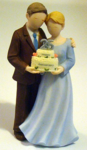 - About Face Designs 25th Wedding Anniversary 5-inch Couple Porcerein Figurine/Cake Topper