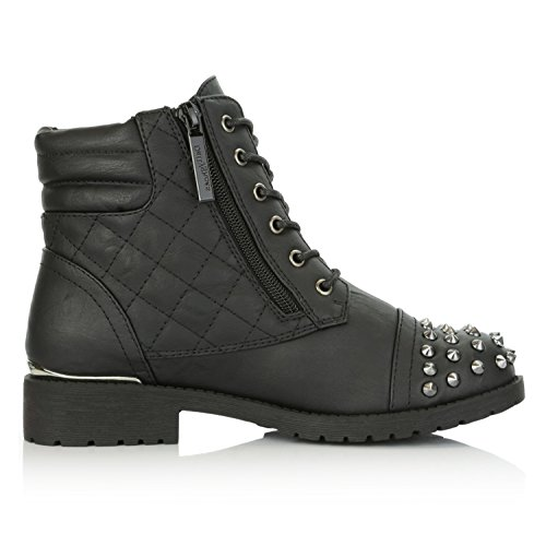 DailyShoes Women's Military Lace up Buckle Combat Boots Ankle High Exclusive Credit Card Pocket Frontal Metal Stud Hiking Booties, Black PU, 11 B(M) US by DailyShoes (Image #8)