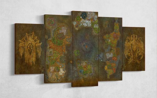 Game-Wall-Art-World-of-Warcraft-Azeroth-Map-Horde-Alliance-Multi-Panel-Art-5-Piece-Canvas-Wall-Art-Gaming-Canvas-Wall-Decor-Framed-Ready-to-Hang