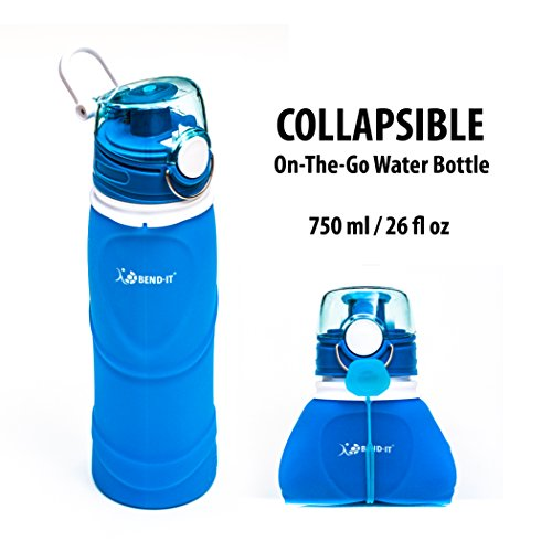 Bend-It Silicone Collapsible Sports Water Bottles - For Boys, Blue Water bottle Unisex Gifts For Adults, Pocket Sized Travel Bottle Indestructible Flip Bottle Caps, 26 Ounce Giant Water Bottle (Bend Golf)