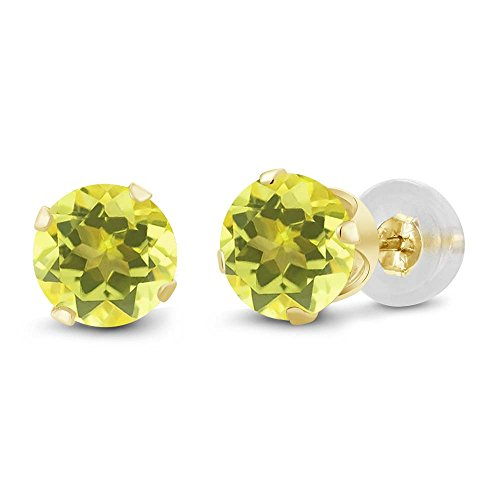 - 2.00 Ct Round 6mm Canary Mystic Topaz 14K Yellow Gold Stud Earrings