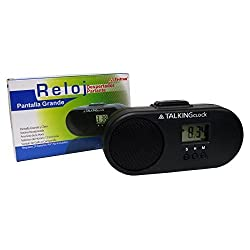 Spanish Talking Alarm Clock, Big Clear Display (Pantalla Grande), Chime (Hacer Sonar) Or Rooster Sound (Sonido Gallo)