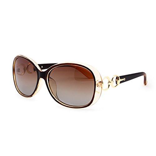 VeBrellen Luxury Transparent Women's Polarized Sunglasses Retro Eyewear Oversized Square Frame Goggles Eyeglasses (Transport Frame With Dark Brown Lens, 60) (Gold Luxury Sunglasses)