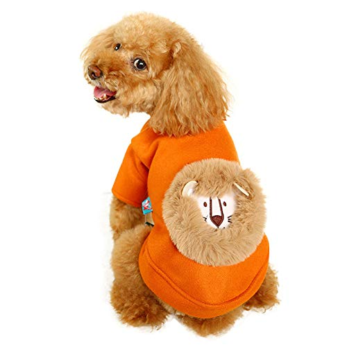 Adnikia Dog Winter Warm Clothes, Pet Halloween Cat Costume with Cute Lion Pattern for Small and Medium Dogs, Teddy…