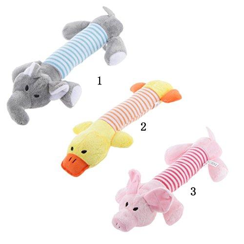 Qpets® Pet Dog Puppy Cat Play Plush Stripe Gray Elephant Squeaky Sound Chew Toys 1pcs