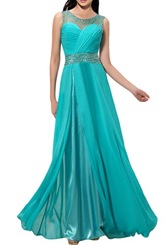 sunvary exquisito a-line sin mangas volantes gasa largo vestidos de fiesta Prom Fiesta turquesa